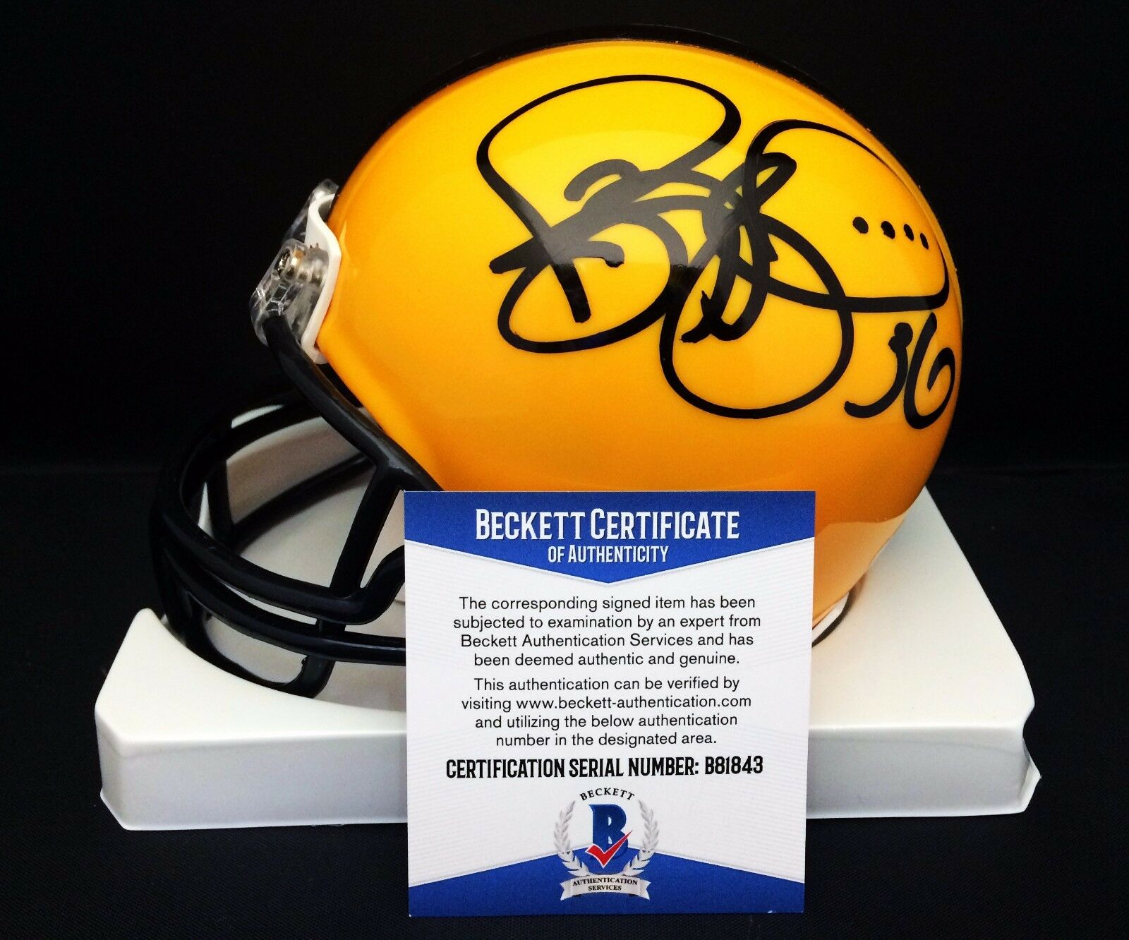 Jerome Bettis Signed Yellow Pittsburgh Steelers Football Mini Helmet BAS B81843