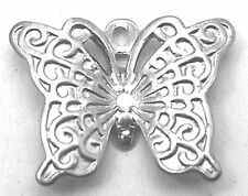 8g (Approx 40pcs) Vintage Filigree Silver Colour Butterfly Charm