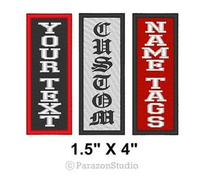 Image is loading Custom-Embroidered-Name-Tag-Patch -Motorcycle-Biker-Vertical-