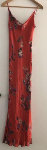 Silk Slip Dress Bias Cut Red Floral