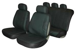 universal car seat cover set leather look black washable airbag compatible ebay. Black Bedroom Furniture Sets. Home Design Ideas