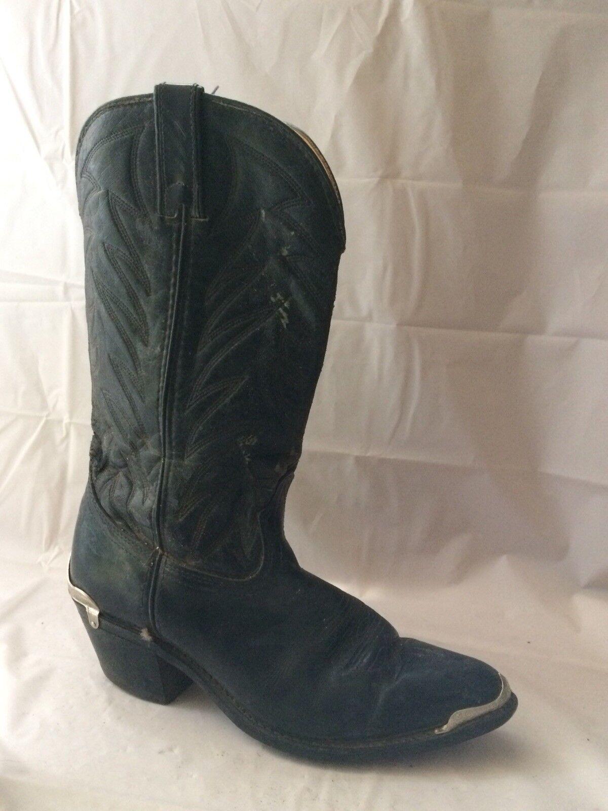 Durango Mens 8 EE Extra Wide 31316 DB400 Tall Black Cowboy Boots Heel Toe Guards