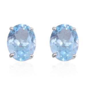 Stud-Solitaire-Earrings-925-Sterling-Silver-Blue-Topaz-Jewelry-for-Women-Ct-2-25