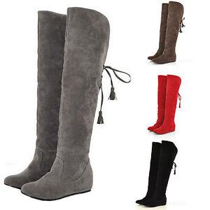 Overkneestiefel-Flache-Damen-Stiefel-Hochschaft-Schuhe-fellstiefel-fellboots-NEU