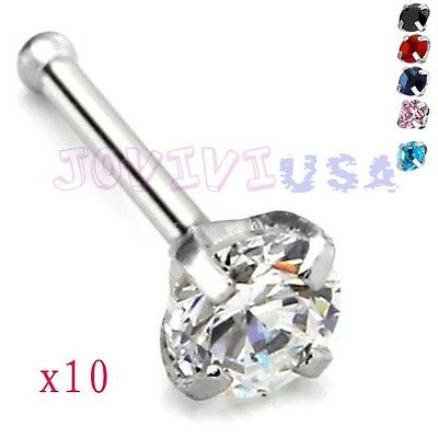 5Pair 20G Clear CZ Gemstone Stainless Steel Nose Ring Bar Stud Barbell Piercing