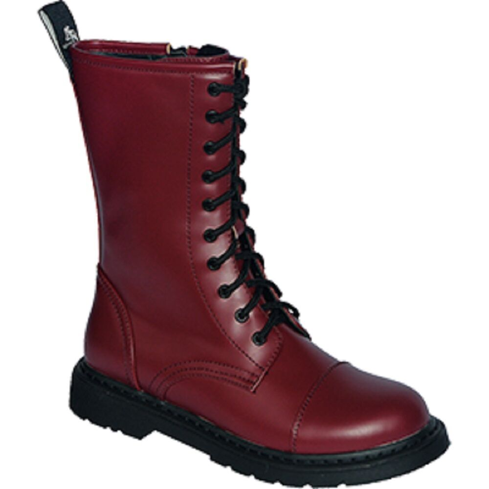 Végétalienne 10 Trous Boots Bottes 37 38 39 40 41 42 43 44 45 46 Rouge Oxblood Red Vegan