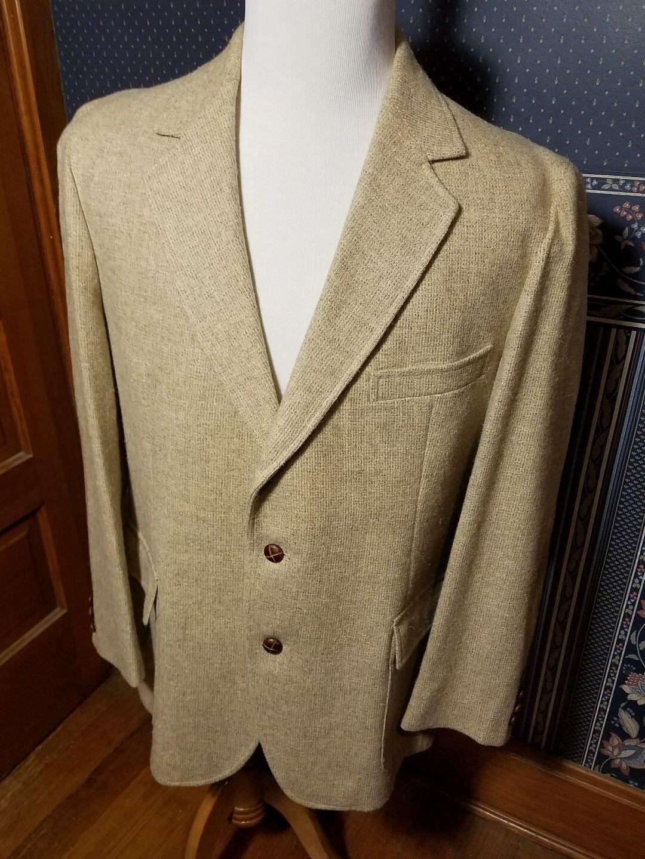 Vintage PENDLETON Western Wear Beige Tweed Leather Blazer Sport Coat Sz 44 USA