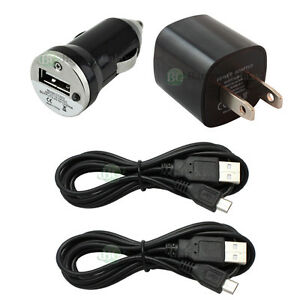 2 Usb 6ft Micro Battery Data Sync Cable Car Wall Charger