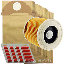 Karcher Wet and Dry Vacuum Filter Cartridge 20 Hoover Bags  WD2250 WD2.250 +Fr