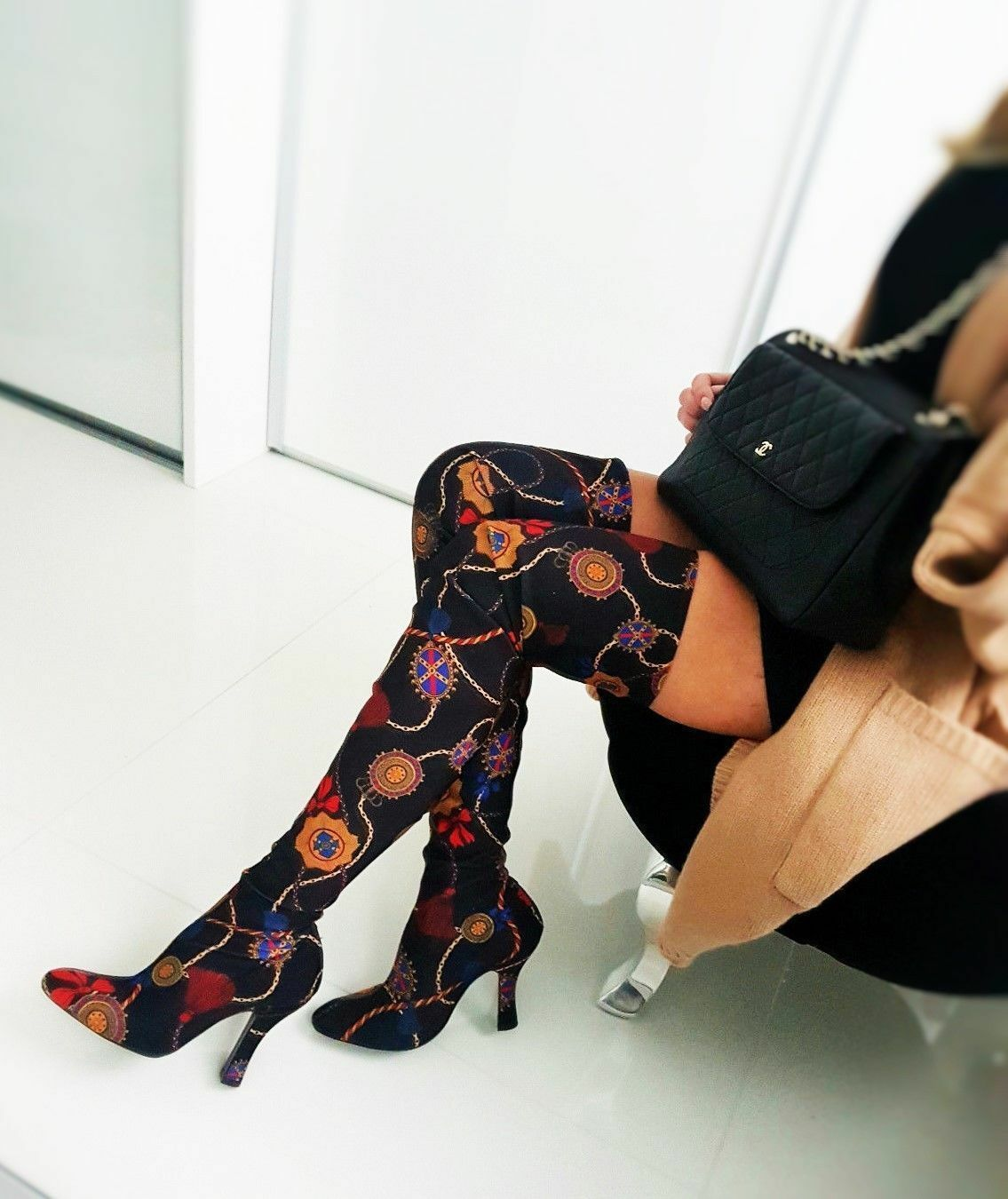 ZARA Woman BNWT Over The Knee High Heel Boots With Printed Fabric EU38 5013 201