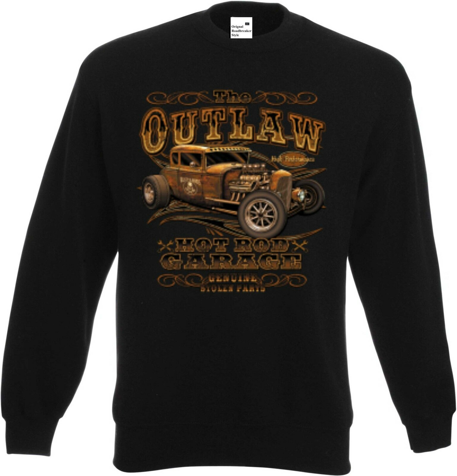 Sweatshirt black V8-,Hot Rod-,US Car-& `50 Stylemotiv Modell The Outlaw