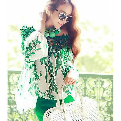 Sexy Women Lady Lace Shirt Floral Leaf Long Sleeve Casual Chiffon Blouse Tops