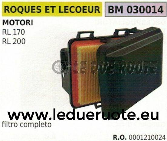 0001210024 FILTRO ARIA COMPLETO MOTORE ROQUES ET LECOEUR RL 170 200