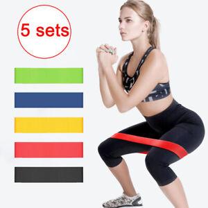5X Fitnessbänder Widerstandsband Fitnessband Sport Gummiband Gymnastikband DE