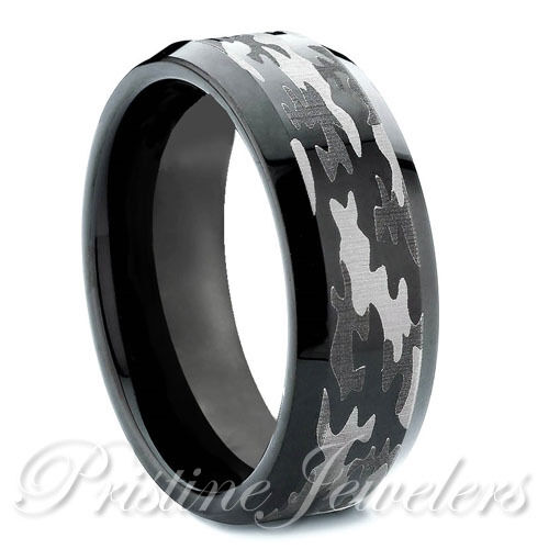 Tungsten Carbide Mens Camouflage Ring Black & Silver Camo Military Wedding Band