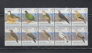 Philippine-Stamps-2007-Birds-Pigeons-Block-of-10-Complete-as-issued-MNH