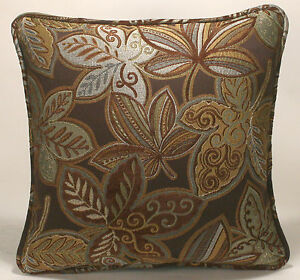 image is loading 2 18 034 brown seafoam green gold and - Designer Throw Pillow