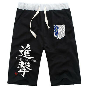 Anime Attack On Titan Cotton Casual Short Pants Elastic Shorts Black Size S-XXL