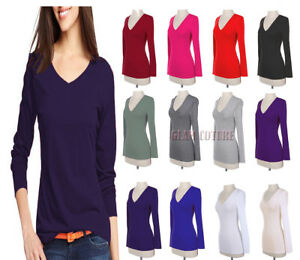 Women-V-Neck-T-Shirt-Ladies-Long-Sleeve-Plain-V-Neck-T-Shirt-Top-Plus-Sizes-8-26