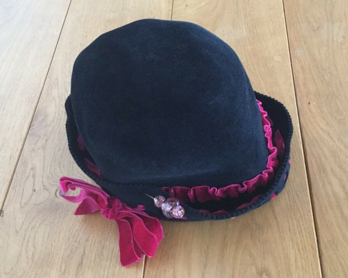 Ladies Hat Black Wool Hat 40' Style Hat Velvet By Mad Hatters English Made