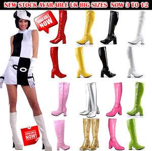 New-Women-039-s-Ladies-Fancy-Dress-Party-Go-Go-boots-60-S-amp-70-S-partie-Tailles-3-To-12