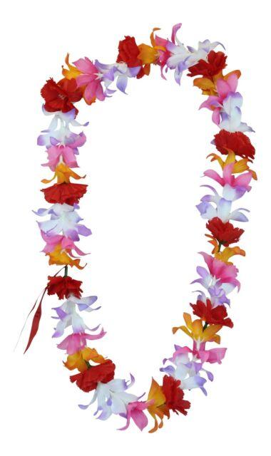 Hawaiian Lei Party Luau Floral Leilani Carnation Silk Dance Flower Blue White
