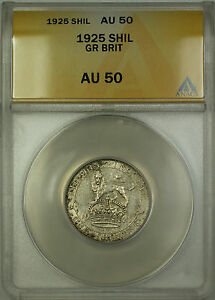 1925-Great-Britain-Silver-Shilling-Coin-ANACS-AU-50