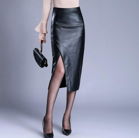 Wonen New Sexy Split Wrap Hip Skirt High Waist Slim Leather Bottom Skirt Dress