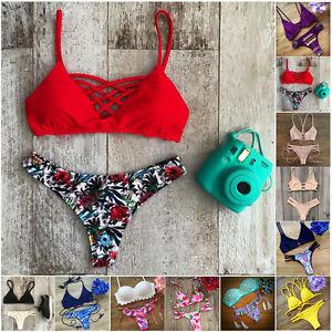 Mujer-Set-de-bikini-banador-Vendaje-Push-Up-Acolchado-bano-ropa-Chic