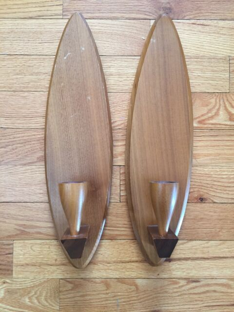 Vtg Mid Century Modern Wooden Wall Sconce Pair Candle Holder Set Wood Canada 15