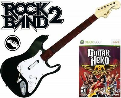 NEW Xbox 360 Rock Band 2 Fender Stratocaster Guitar & Guitar