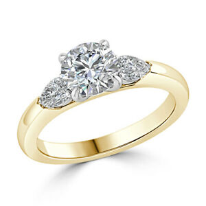 1.84 Ct Round Cut Moissanite Anniversary Superb Ring 18K Real Yellow Gold Size 4