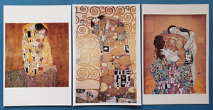 Stunning-Set-of-3-NEW-Gustav-Klimt-Art-Nouveau-Art-Paintings-Postcards-90M