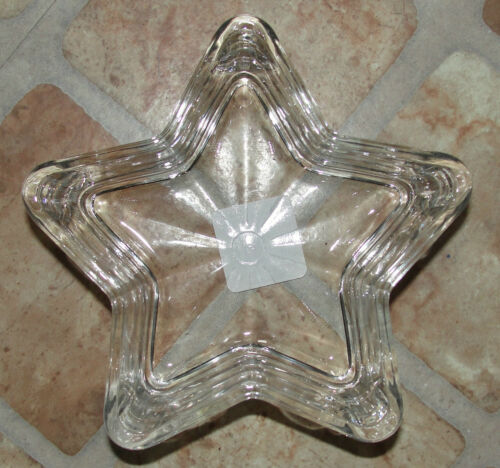 """Glass Star Shaped Candy Dish Clear 6/"""" x 2/"""" Shallow Vase Container Glassware"""