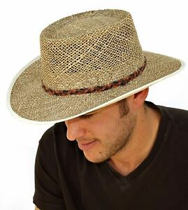 Country Classics Greg Norman Seagrass Straw Hat Ventilated Wide Brim ... 034f12453389