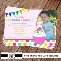 Printable Photo Cupcake Birthday Invitation, Cupcake Party Supplies Cupcakes Diy