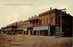C 1910 Stores Houston St Wharton Tx Post Card Ebay