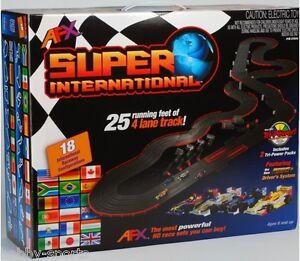 AFX-Super-International-4-Lane-Mega-G-HO-Slot-Car-race-Track-Set-Tri-Power-MG