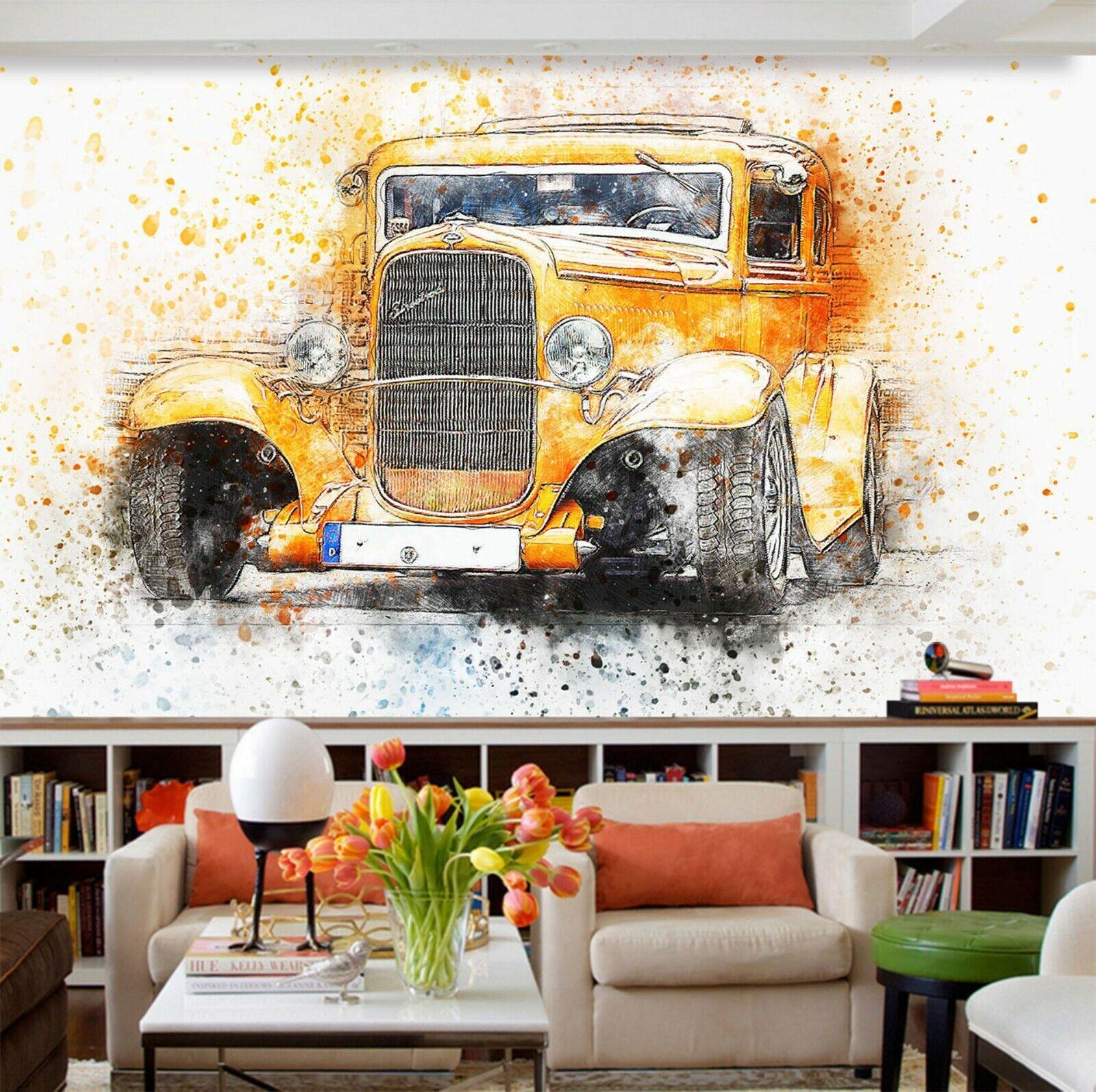 3D Vintage Car I95 Transport Wallpaper Mural Sefl-adhesive Removable Angelia