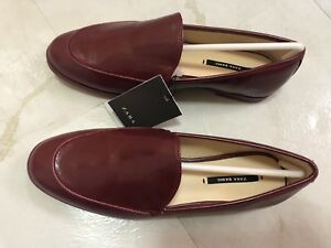 daa2277c45b ZARA WOMAN Single Coloured Loafers Leather SHOES Red Wine Burgundy ...