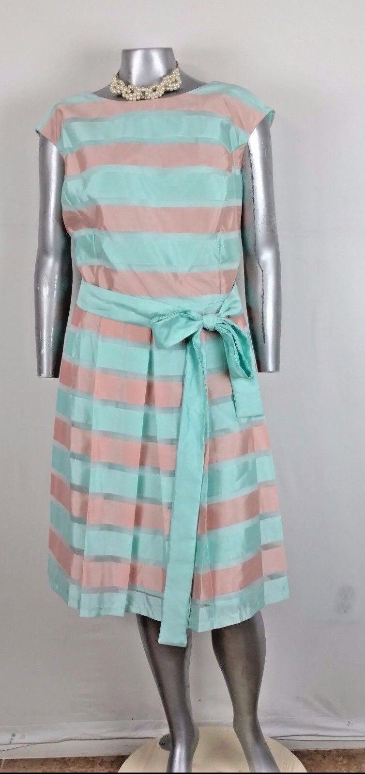 Plus Woman LESLIE FAY DRESS 24W OCCASION Satin Striped Ribbon band pleated NWT