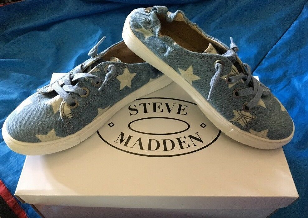 New New New Steve Madden Jane bluee 6.5 Canvas shoes Casual White Stars No Tie Walking 373f99