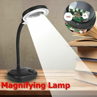 Magnifying Crafts Glass Desk Lamp With 5X 10X Magnifier With 40 LED Lighting EU