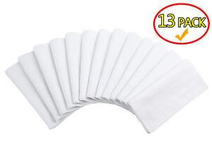 13-Pcs-16-034-X16-034-White-Cotton-Men-039-s-Handkerchiefs-Pocket-Hankies-Dinner-Napkins
