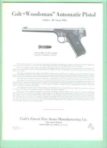 Colt Model Woodsman Older Owners Manual Reproduction