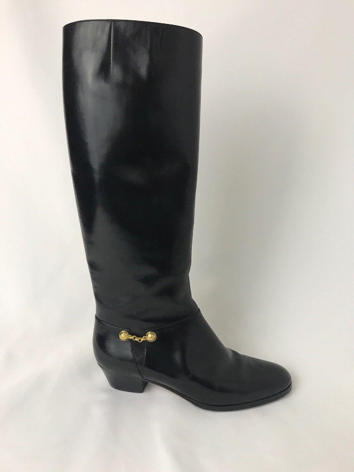 De colección Ferragamo Cuero Negro botas altas de mujer 5B oro acento Ecuestre Equitación