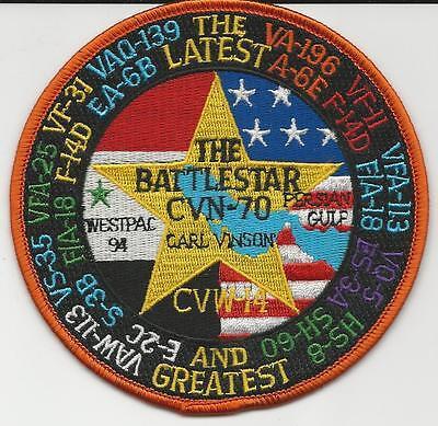 CVN-70 USS CARL VINSON WESTPAC 1994 BATTLESTAR US Navy Squadron Cruise Patch