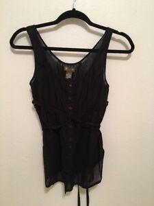 Anthropologie-Fei-Sleeveless-Cotton-Blouse-Size-0-Black-Cotton-Tie-Waist-Top