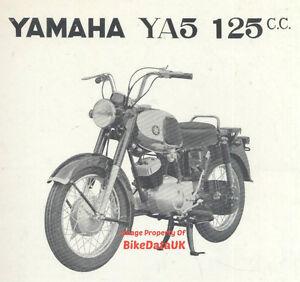 Original Yamaha 125 YA5 (1963-1964) Factory Wartungshandbuch Buch (Pro YA6)