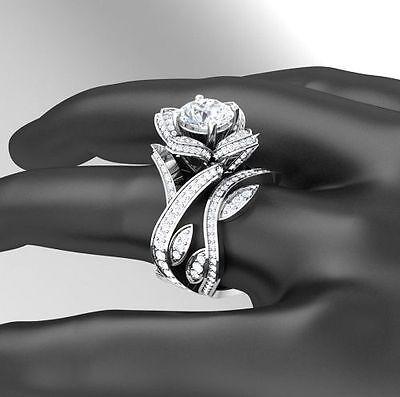1.20Ct Round Cut Beautiful Rose Flower 925 Silver Engagement Bridal Ring Set